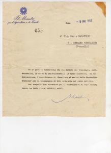 Lettera di conferimento, Cavaliere della Repubblica-1952
